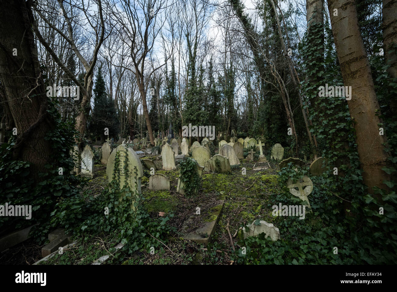 Highgate Cemetery (east) in North London, UK Stock Photo