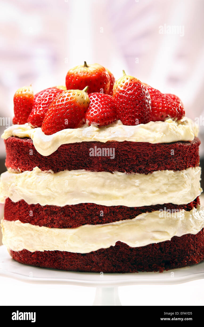 Red Velvet Cake With Strawberries Stock Photo 78302369 Alamy