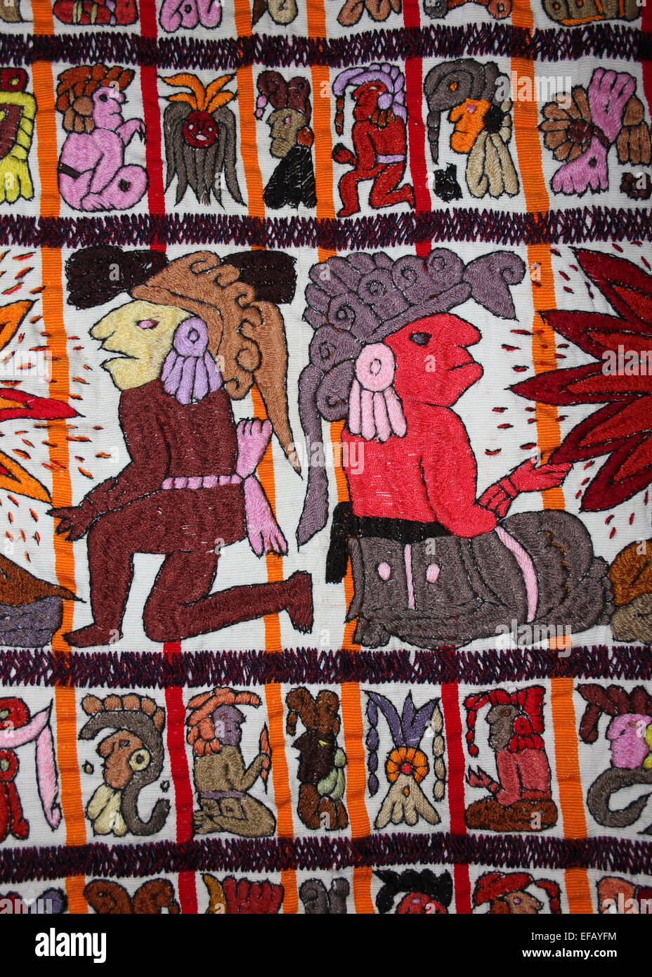Modern Guatemalan Cloth Embroidered With Mayan Gods and Glyphs - Stock Image