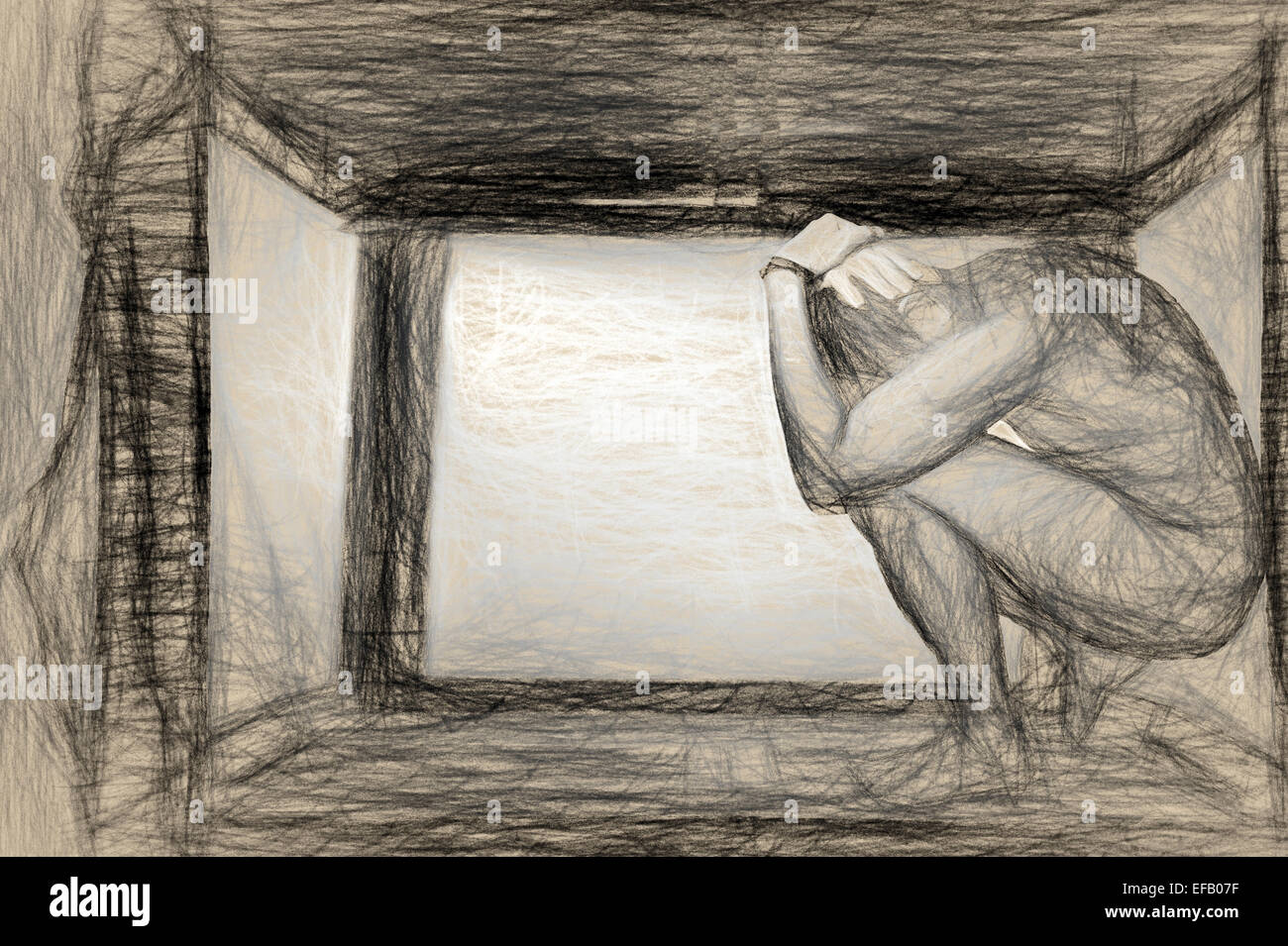 Recluse and Introvert - we all hide in boxes. - Stock Image