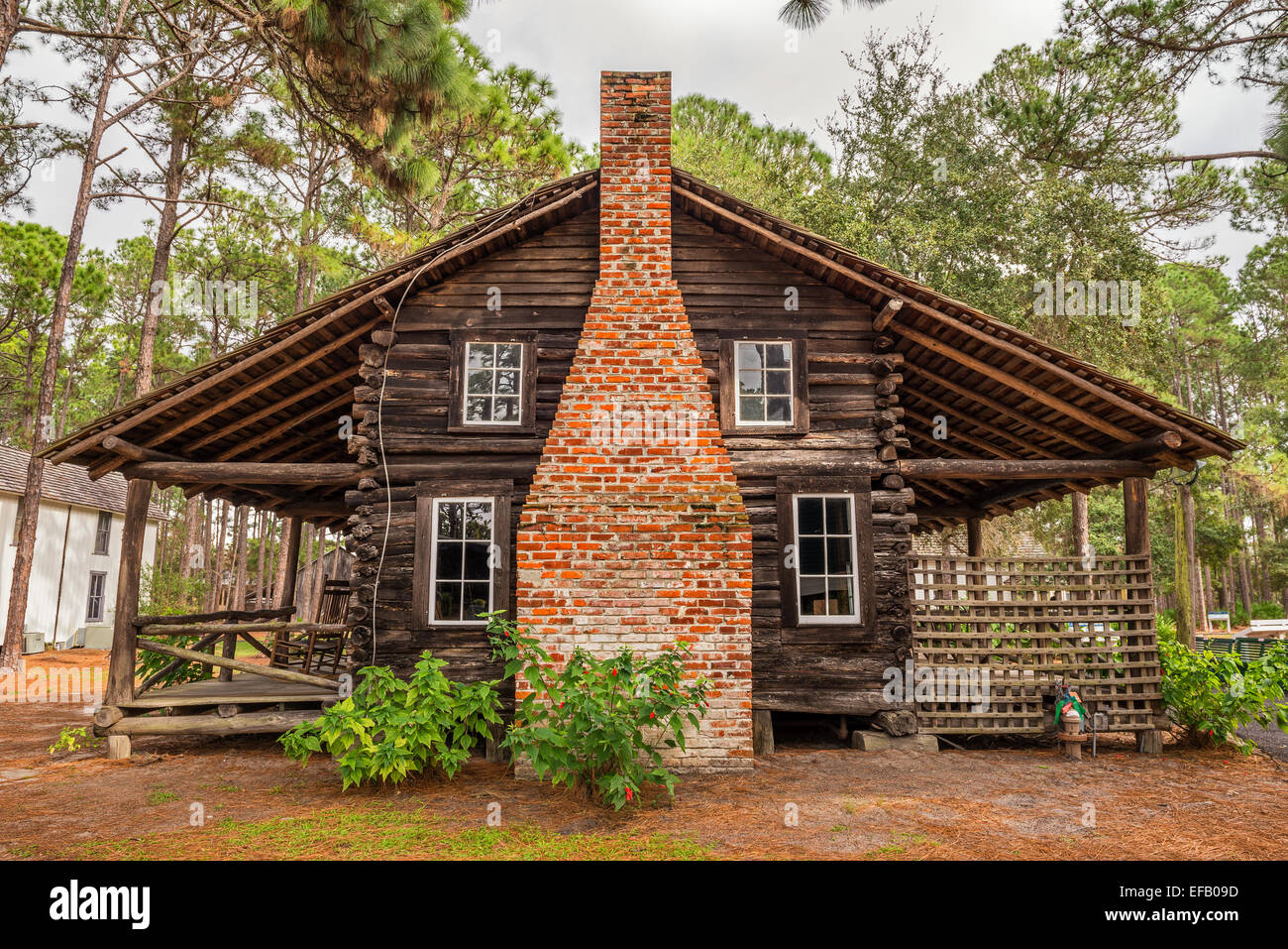 McMullen-Coachman Log House in the Pinellas County Heritage Village Stock Photo