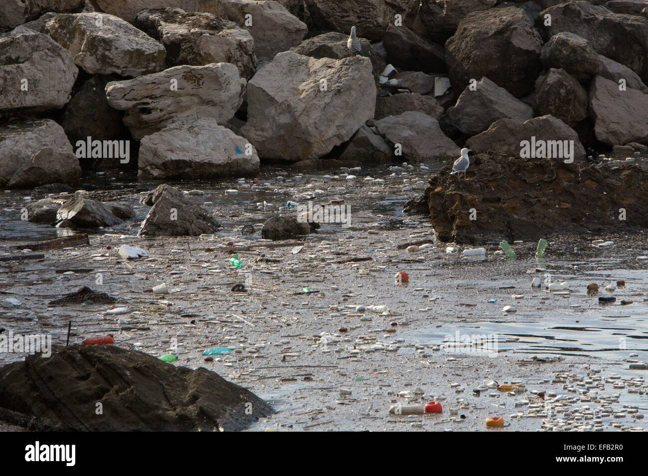 plastic pollution at the Italian coast near Naples Stock Photo