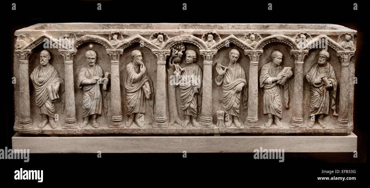 Sarcophagus Christ Among Apostles  found Vatican Necropolis 375-400 AD ( Vatican Museum Rome Italy ) - Stock Image