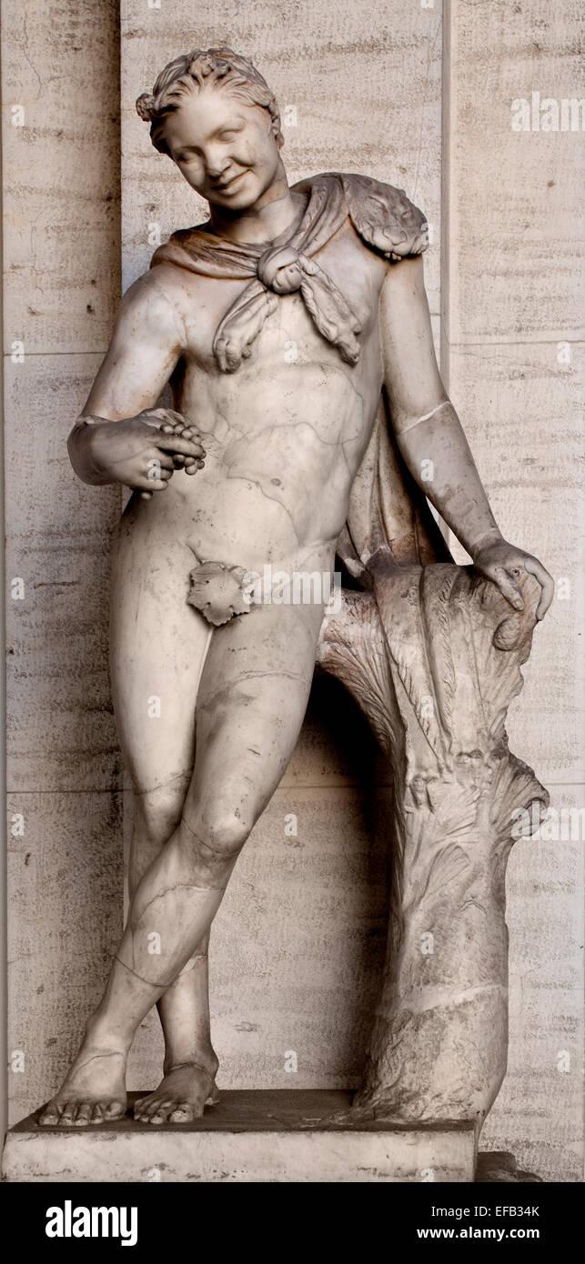Satyr  Roman Statue Octagonal Courtyard ( Vatican Museum Rome Italy ) - Stock Image