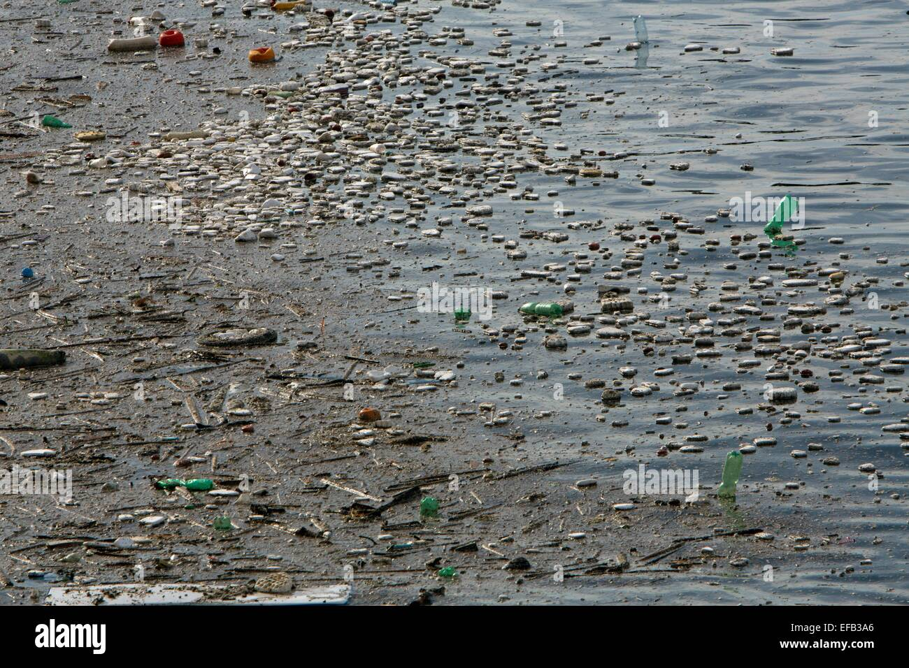 plastic pollution at the Italian coast near Naples Stock Photo