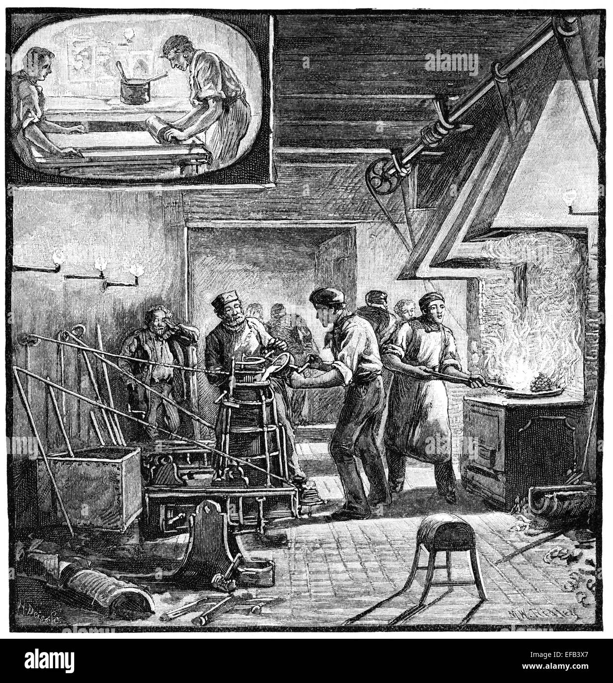 The Times type foundry. Vintage magazine illustration from 1881. - Stock Image