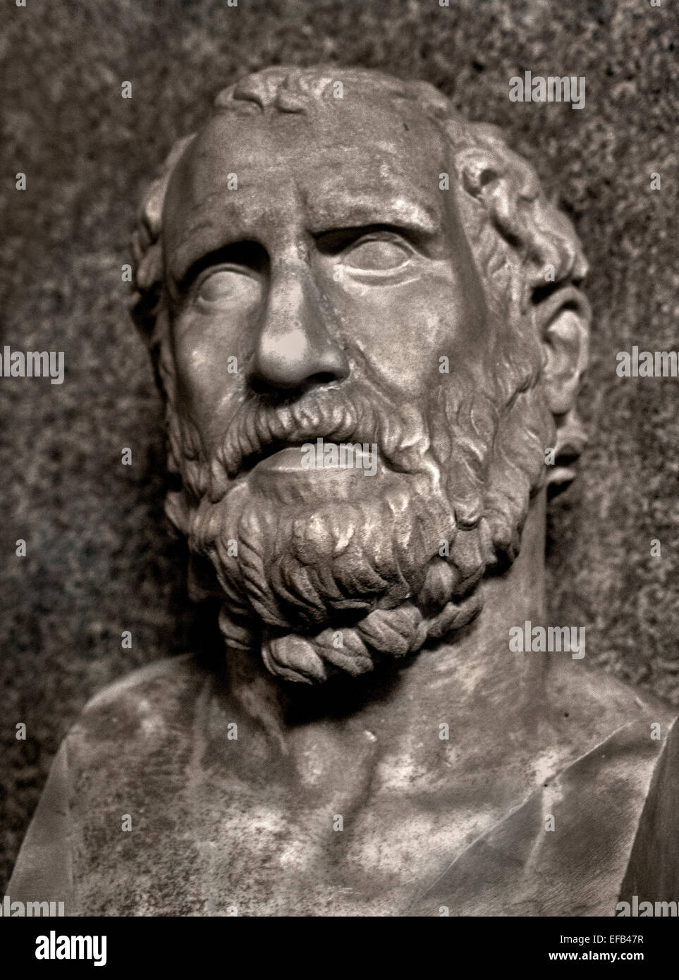 Epicurus  341–270 BC  ancient Greek philosopher school of philosophy called Epicureanism ( Vatican Museum Rome Italy - Stock Image