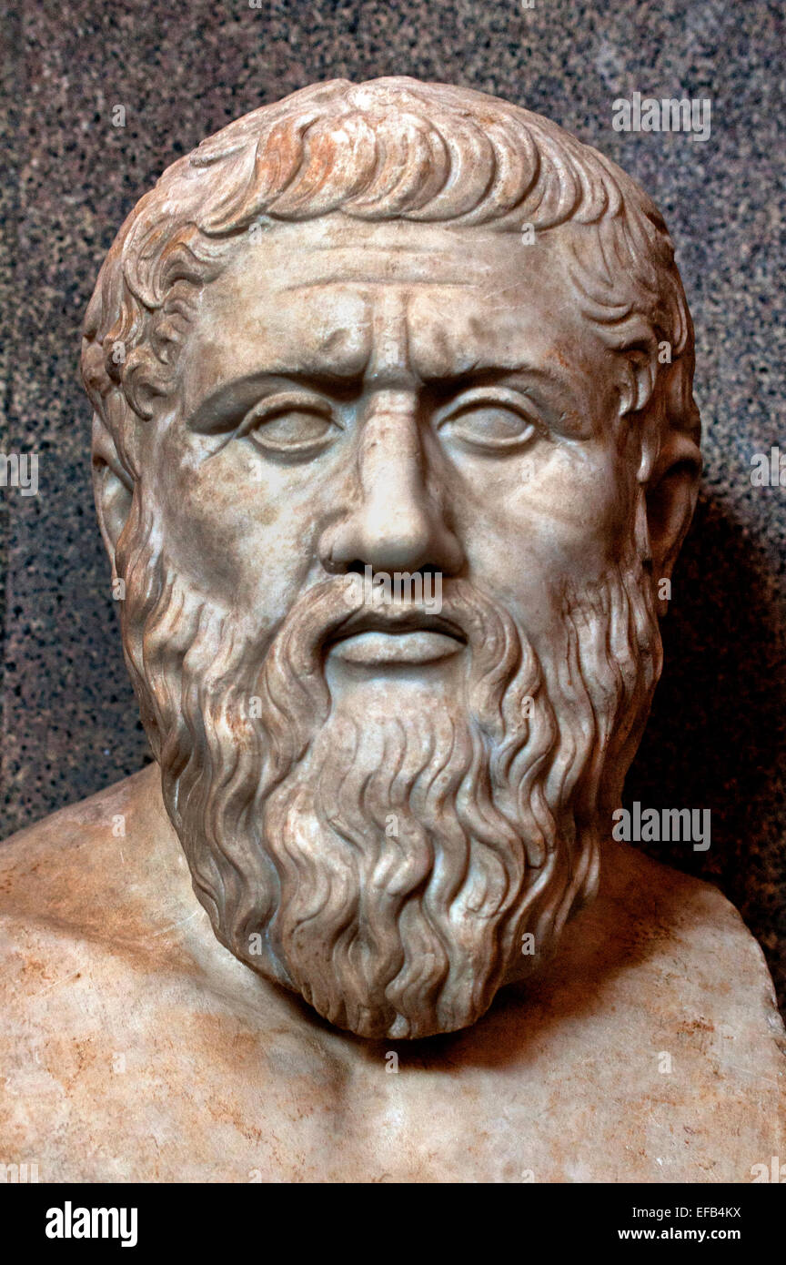 Plato or Platon 427–c. 347 BC philosopher philosophy Greek Greece ( Vatican Museum Rome Italy ) - Stock Image