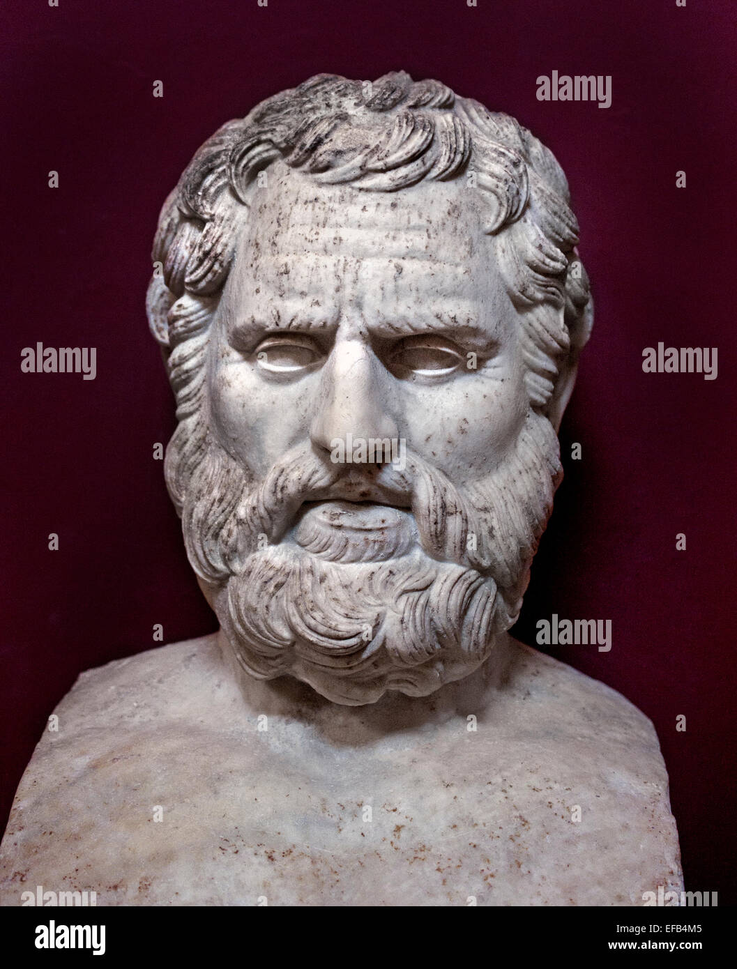 """Bust of Bias bearing the inscription """"Bias of Priene"""". Marble, Roman copy after a Greek original. From the villa Stock Photo"""