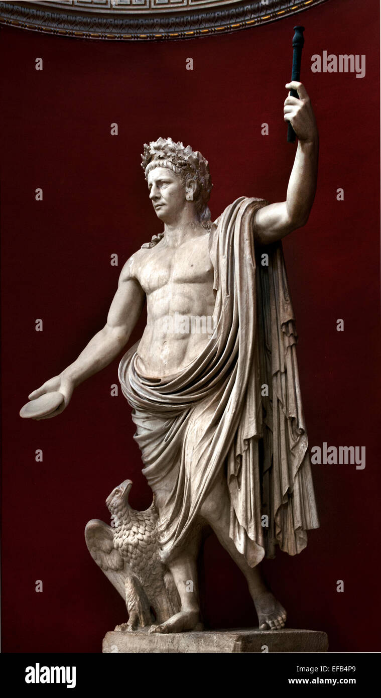 Claudius was Roman emperor from 41 to 54 AD ( The inscription on the front reads: 'TI CLAVDIVS CAESAR AVG P - Stock Image