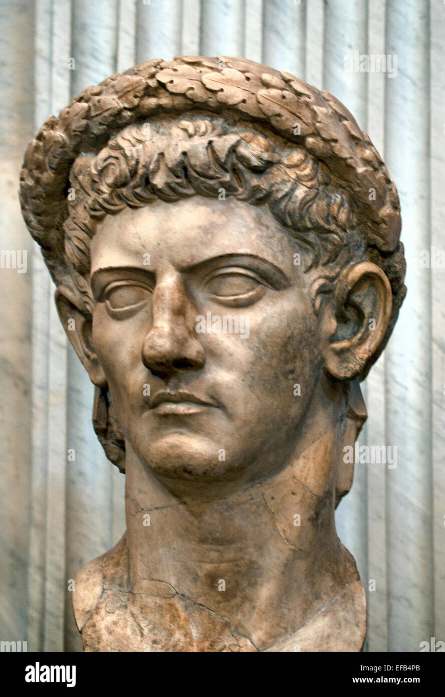 Bust of Emperor Claudius 50 CE, (reworked from a bust of emperor Caligula), It was found in the so-called Otricoli - Stock Image