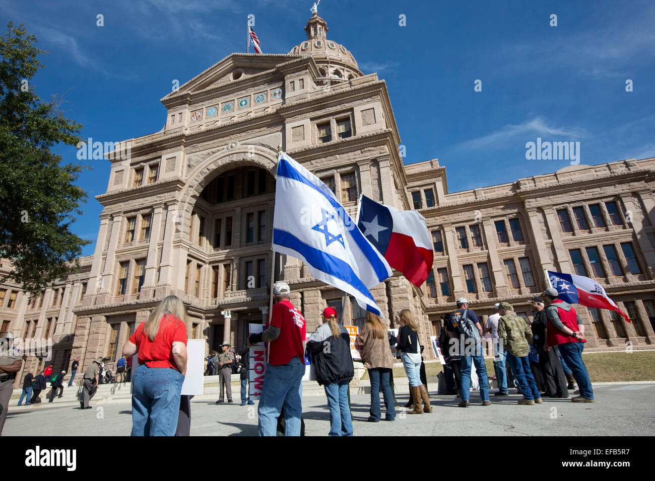 Texas Muslim Capitol Day organized by the Council on American-Islamic Relations small group loudly voiced their - Stock Image