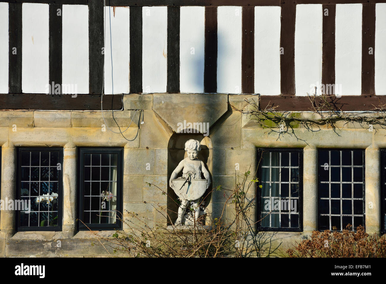 Detail of a Grade II listed 1920s semi-detached cottage in the village of Turners Hill. West Sussex. England. UK - Stock Image