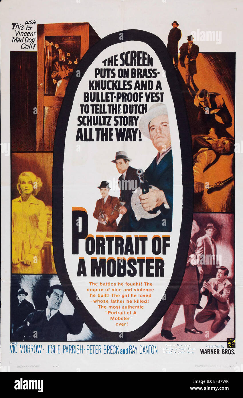 MOVIE POSTER PORTRAIT OF A MOBSTER (1961) - Stock Image