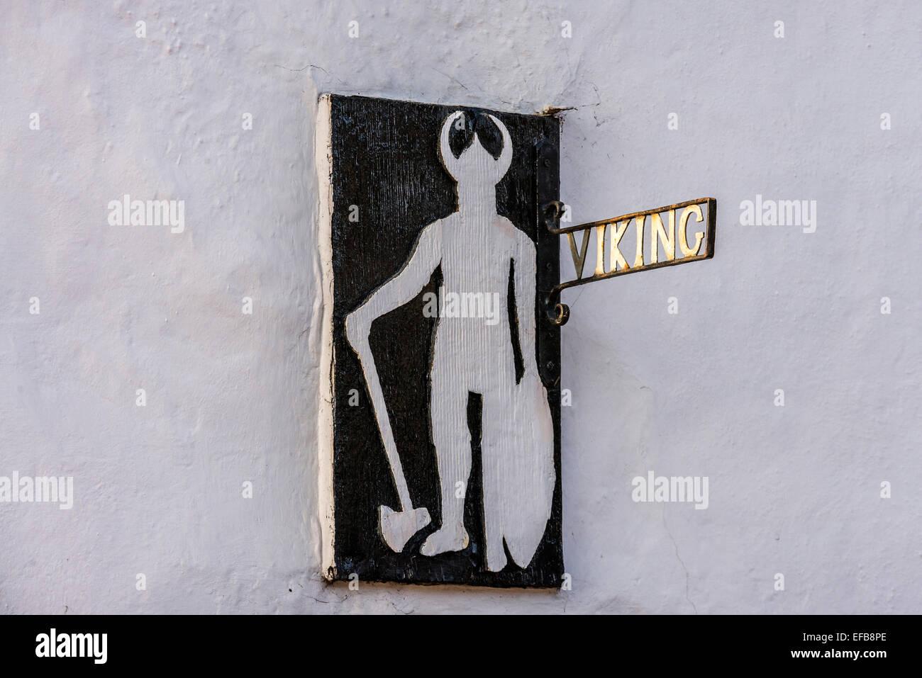 Viking house sign. Viking cottage. Lindfield. West Sussex. UK - Stock Image