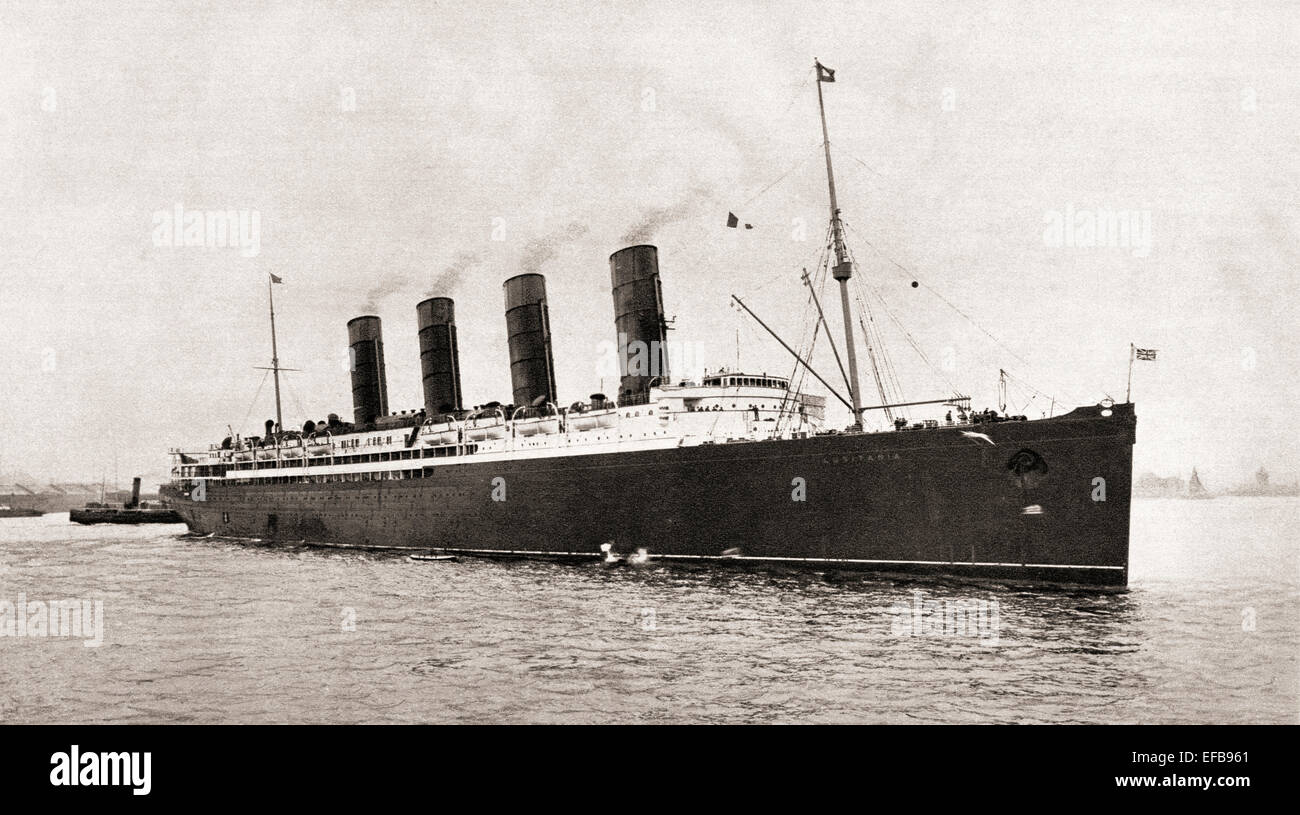 RMS Lusitania Cunard Line ocean liner, torpedoed and sunk by a German submarine in 1915, during World War One. - Stock Image