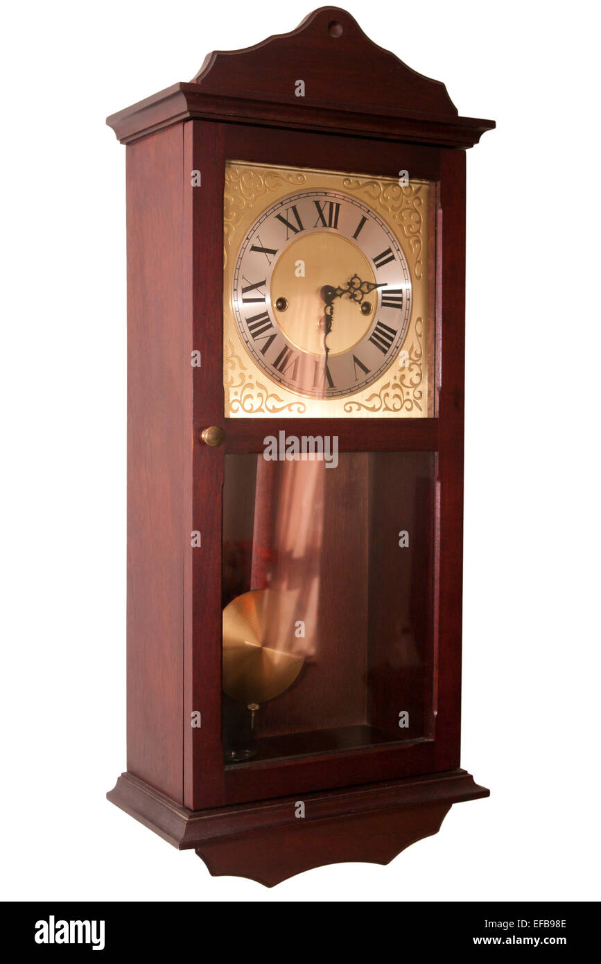 Wooden With Brass pendulum Wall Clock With Roman Numerals - Stock Image