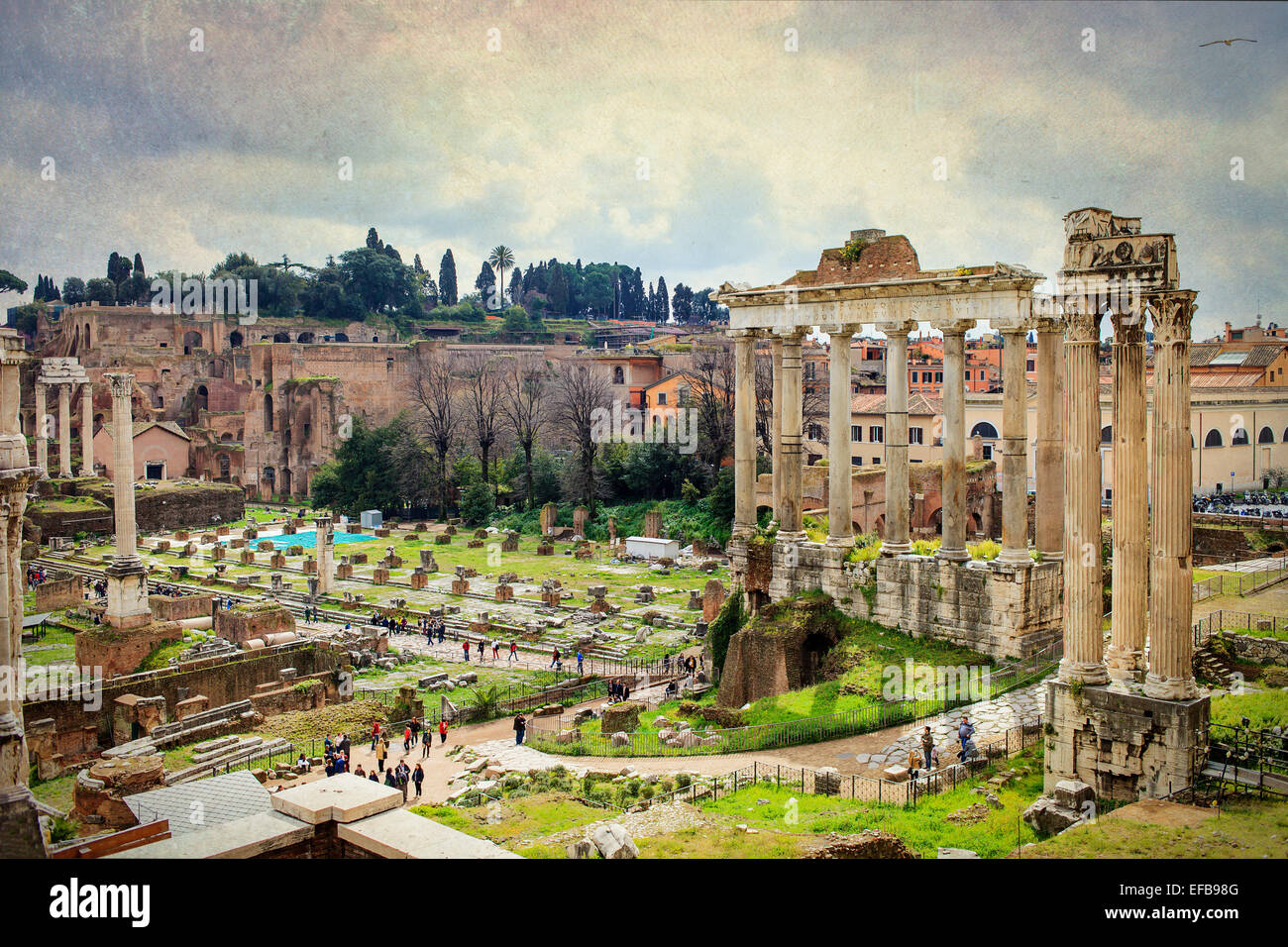 Foro Romano - old roman monuments ruins in Rome, Italy - Stock Image