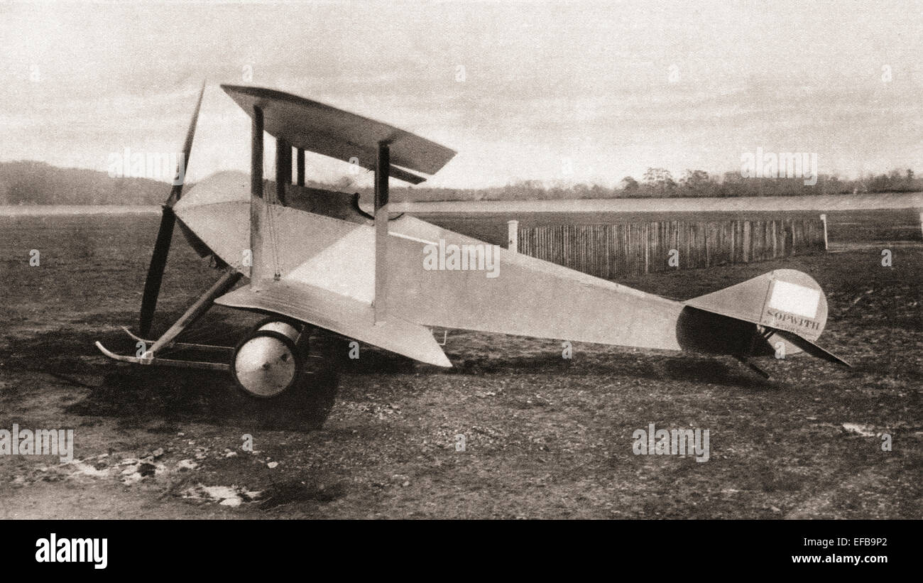 A Sopwith Tabloid, single seater scout tractor biplane used during World War One. - Stock Image