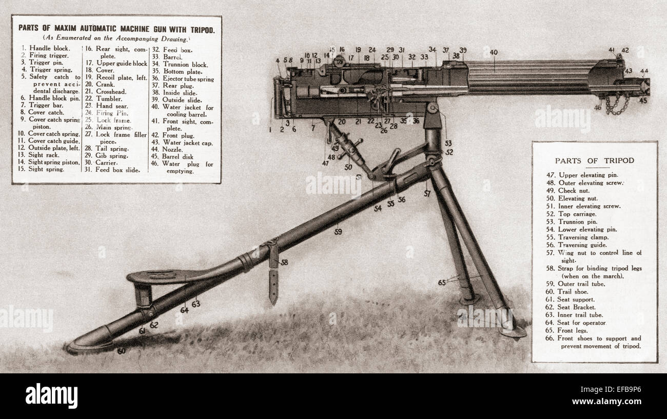 Illustration showing the parts of a Maxim automatic machine gun with tripod. - Stock Image