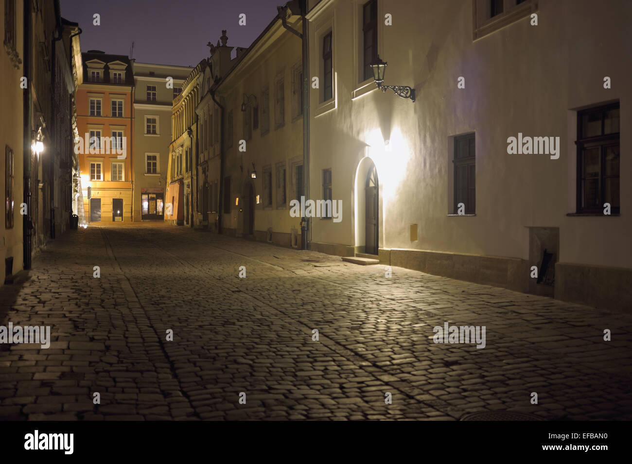 Streets of Krakow at nighttime - Stock Image