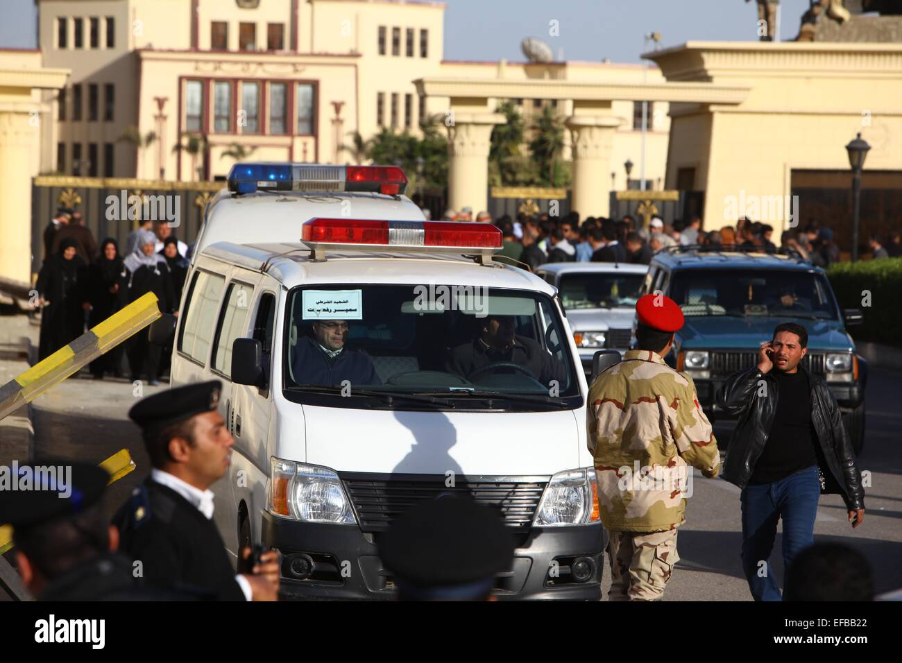 Cairo, Egypt  30th Jan, 2015  Vans carrying coffins of