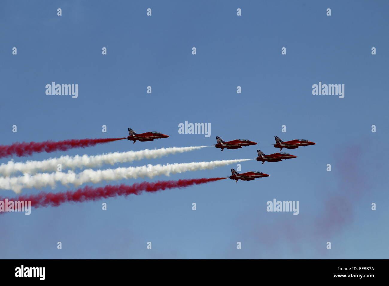Red Arrows, Clacton Airshow, Clacton Pier. - Stock Image