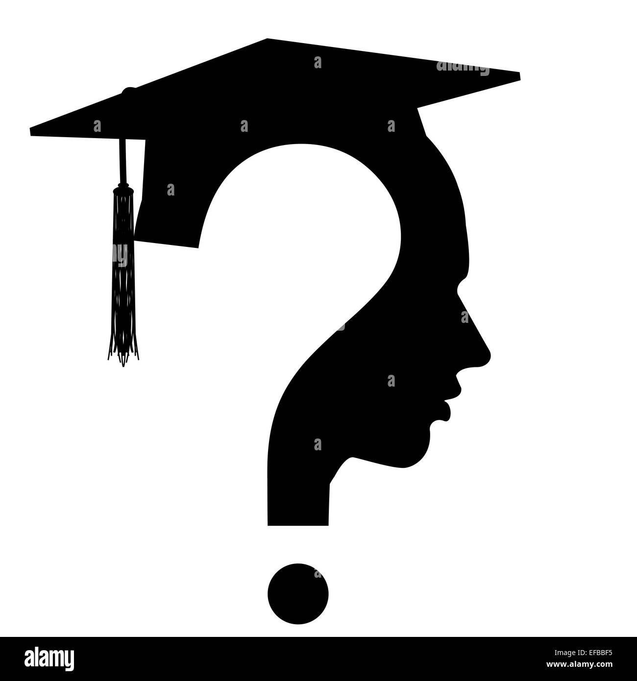 Question mark head with Education Cap symbol - Stock Image