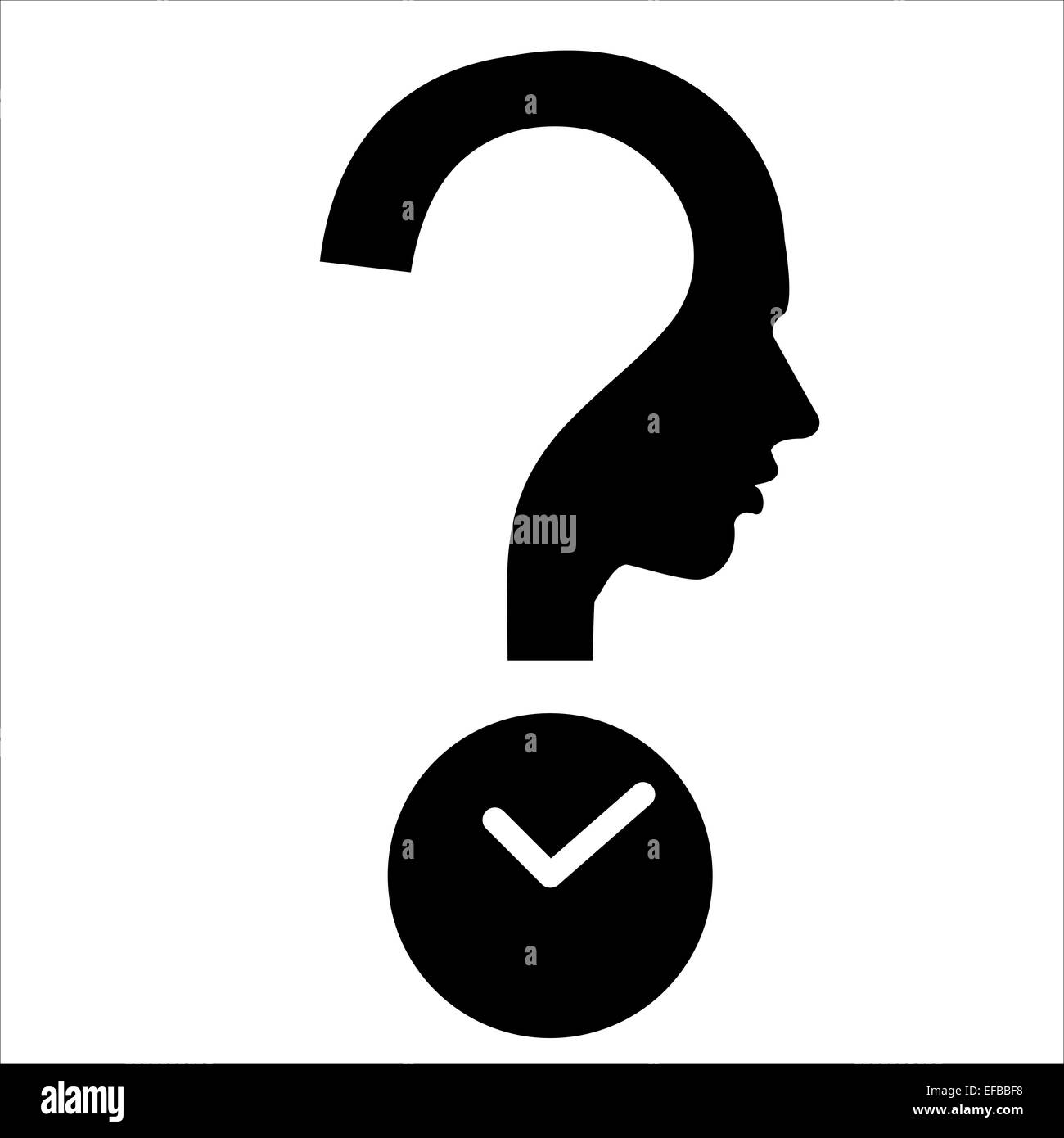 Question mark human head with timer - DeadLine symbol - Stock Image