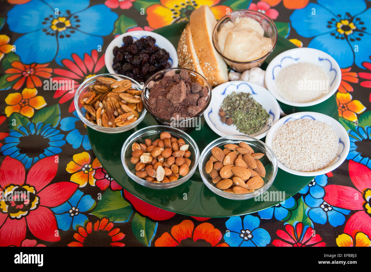 Oaxaca, Mexico - Some of the ingredients used in making mole negro in a cooking class. - Stock Image