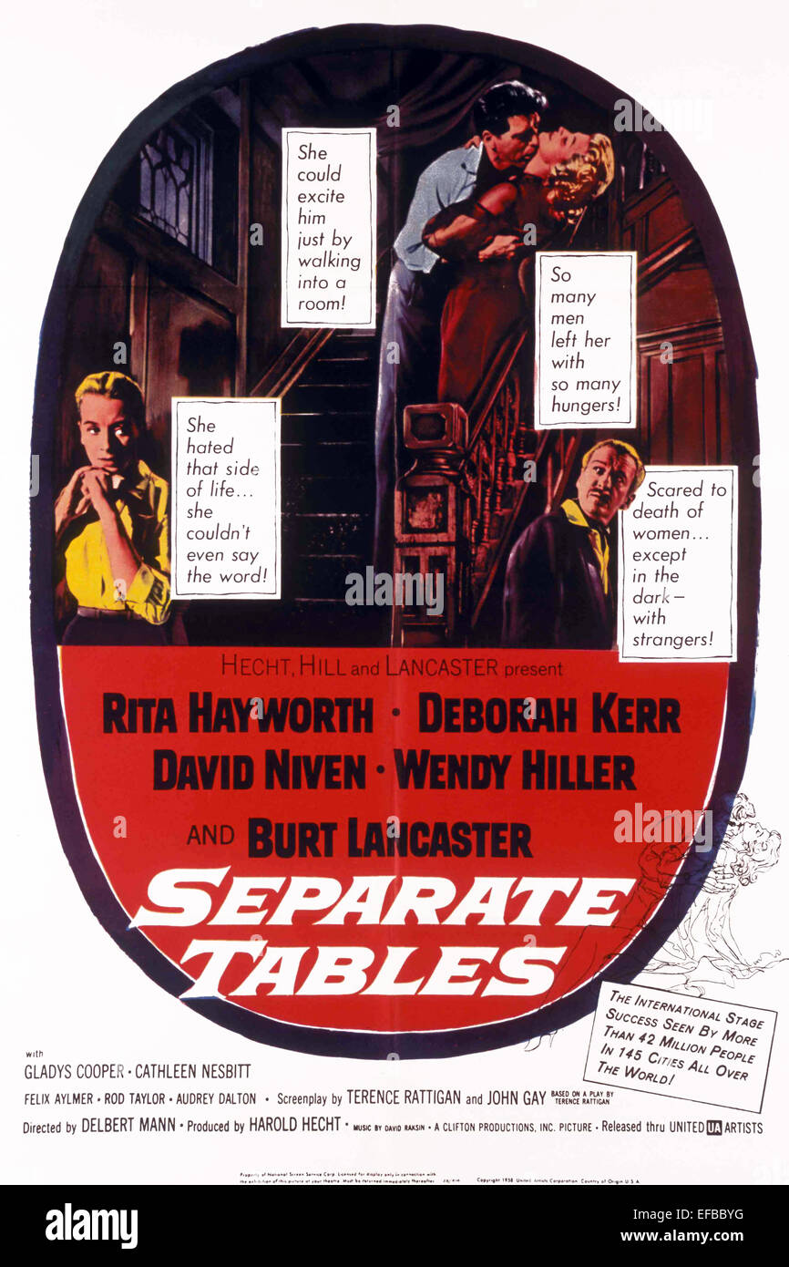 MOVIE POSTER SEPARATE TABLES (1958) - Stock Image