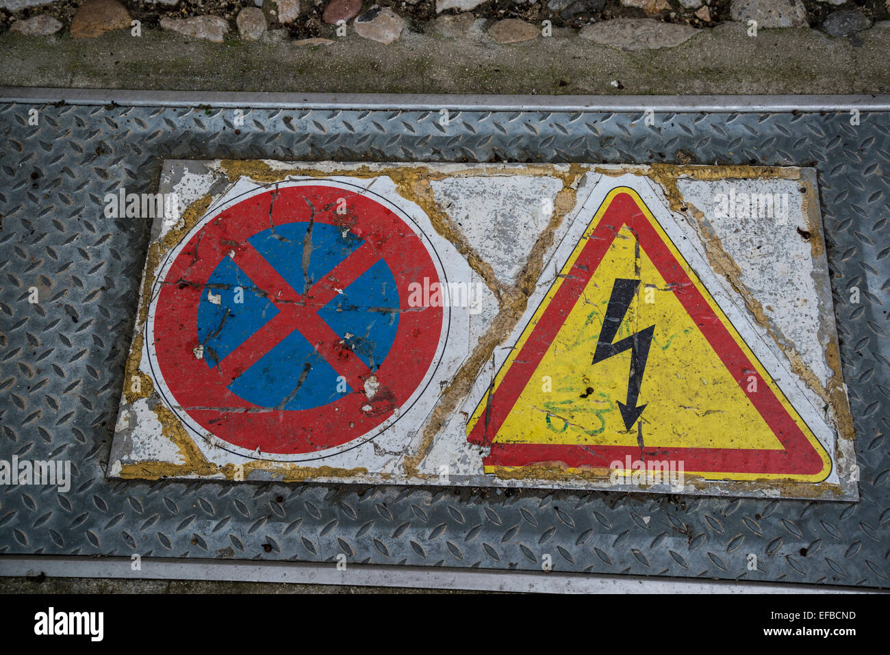 Road danger signs, no entry, electricity - Stock Image