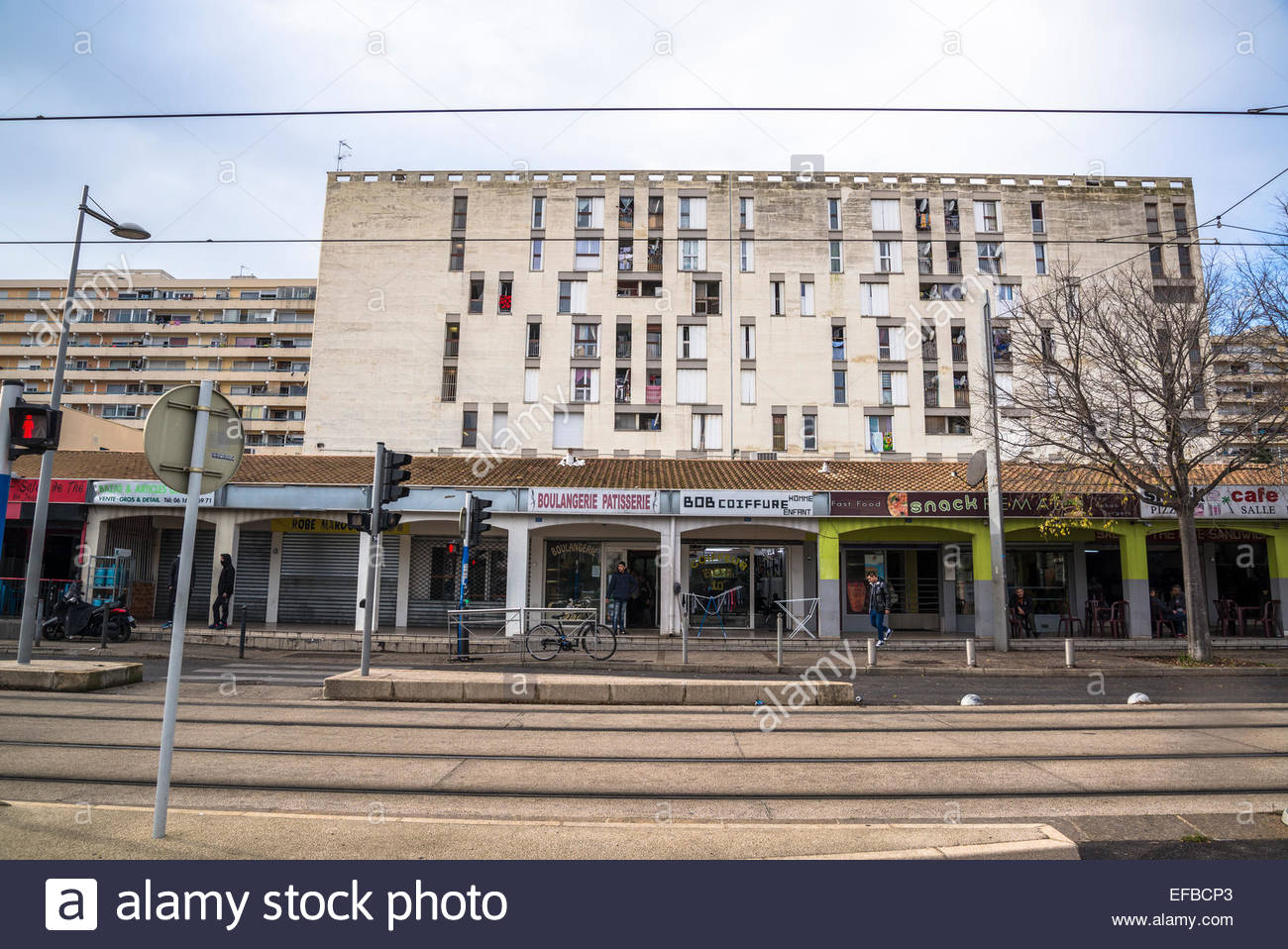HLM public housing, Mosson area, Montpellier, France - Stock Image