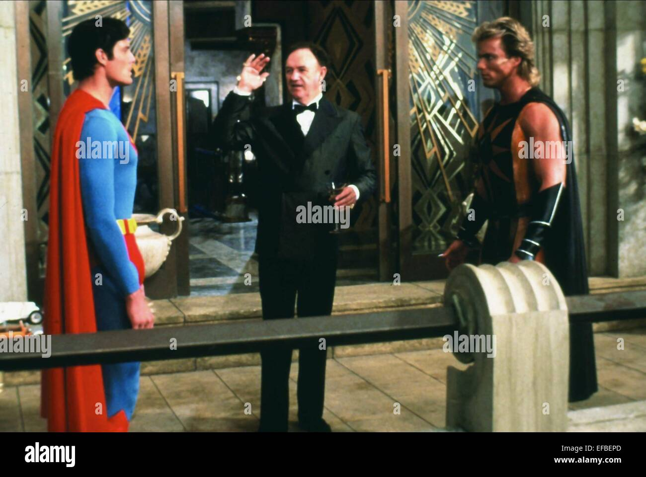 CHRISTOPHER REEVE, GENE HACKMAN, MARK PILLOW, SUPERMAN IV: THE QUEST FOR PEACE, 1987 - Stock Image