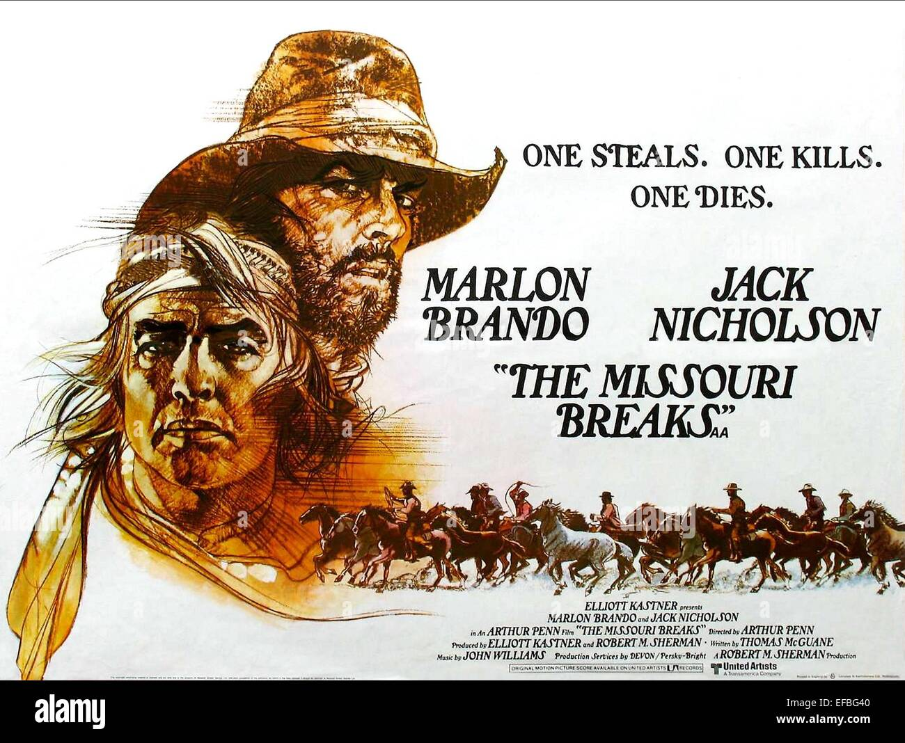 MARLON BRANDO, JACK NICHOLSON MOVIE POSTER, THE MISSOURI BREAKS, 1976 - Stock Image