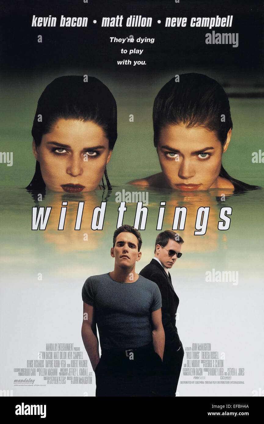 DENISE RICHARDS NEVE CAMPBELL MATT DILLON & KEVIN BACON POSTER WILD THINGS (1998) - Stock Image