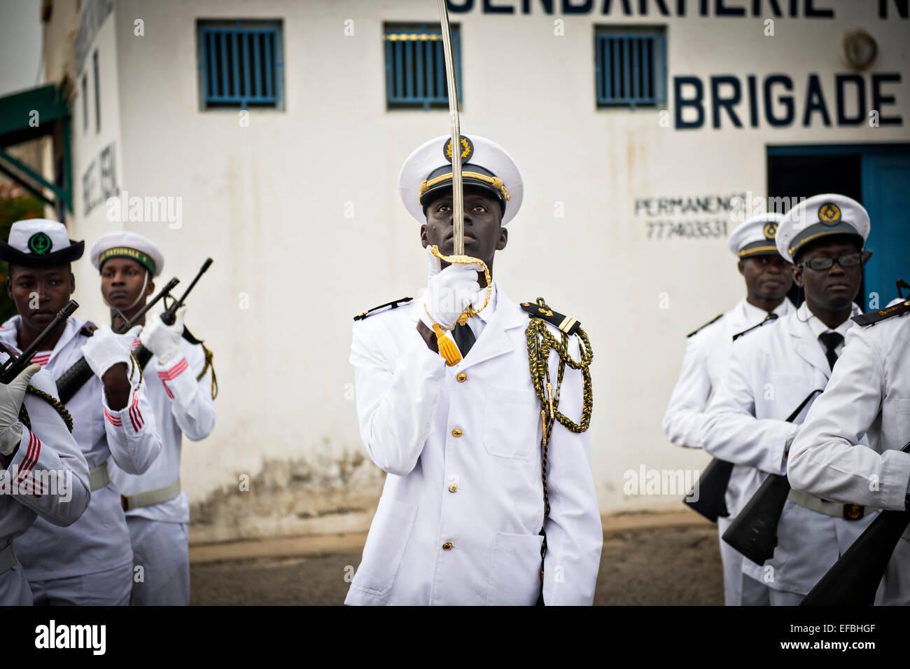Senegalese sailors in parade dress during the Senegal Navy Celebration January 22, 2015 in Dakar, Senegal. - Stock Image