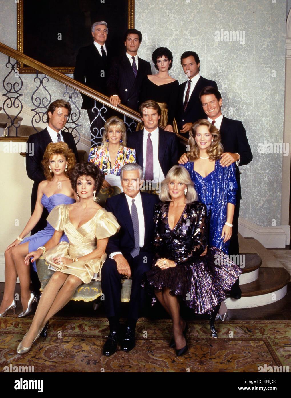 MICHAEL NADER, JOAN COLLINS, JOHN FORSYTHE, LINDA EVANS, EMMA SAMMS, HEATHER LOCKLEAR, JACK COLEMAN, DYNASTY, 1985 - Stock Image