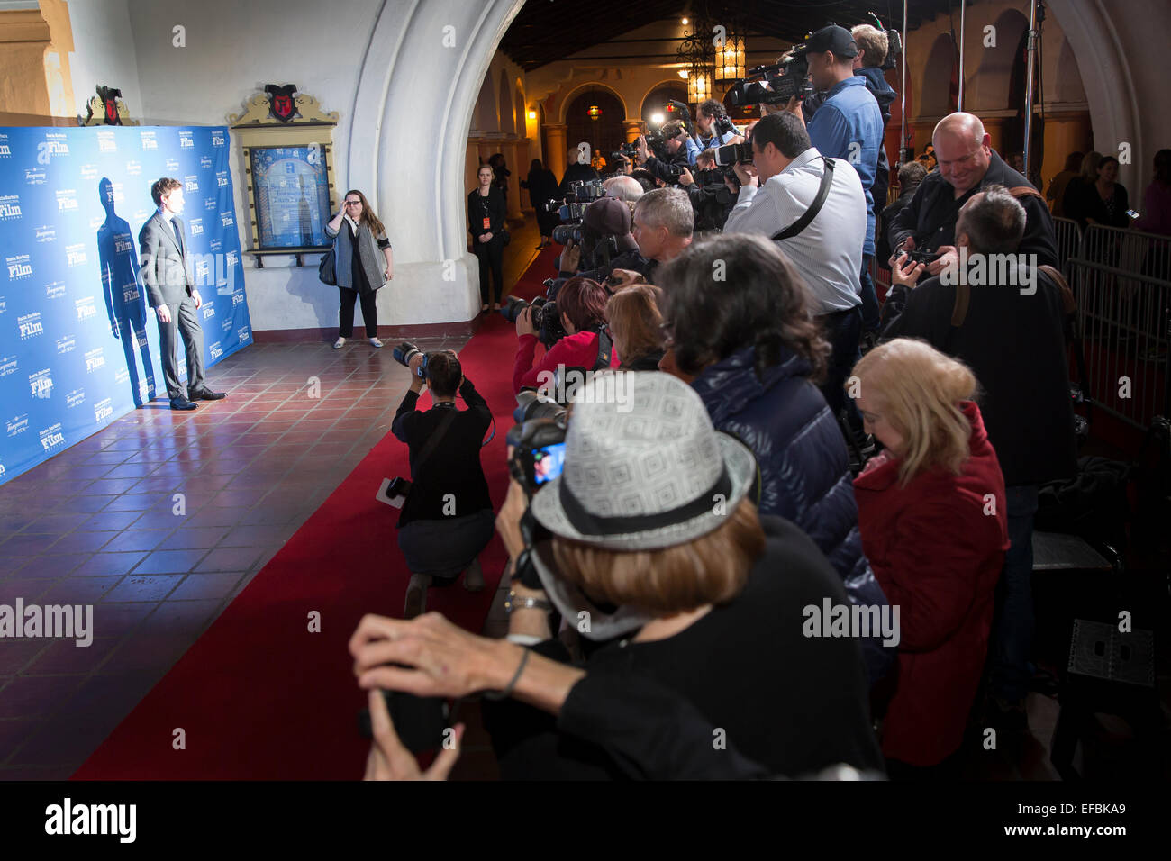 Santa Barbara, California, USA. 29th Jan, 2015. Eddie Redmayne poses for photos on the red carpet at the 30th Santa - Stock Image