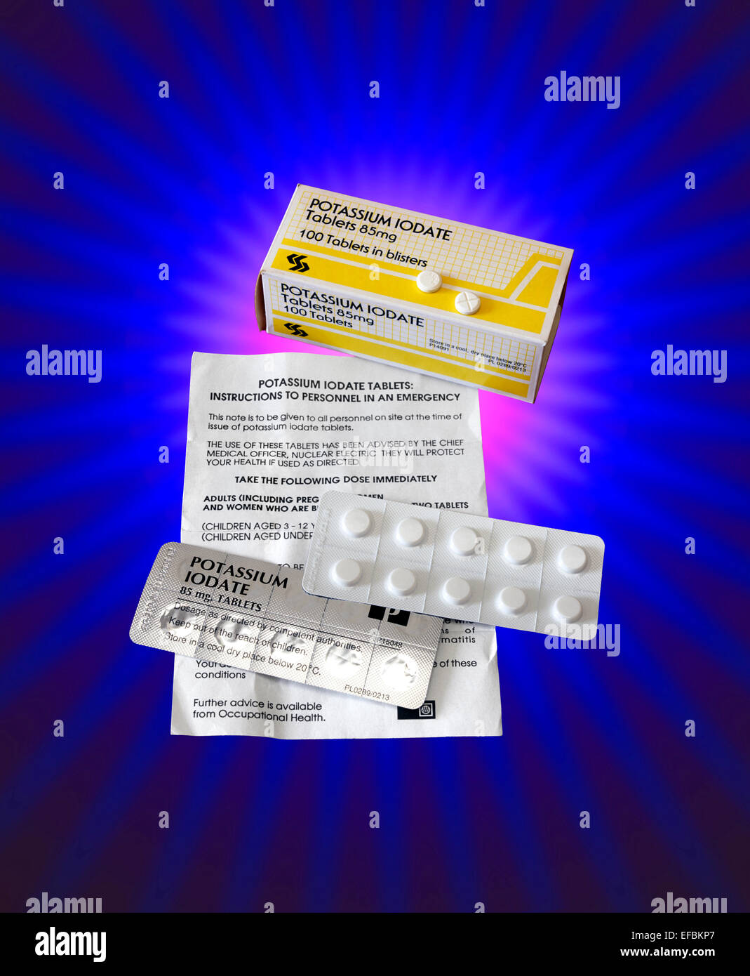 Potassium iodate tablets for use in the event of a radioactive leak around Hinkley Point nuclear power station. - Stock Image