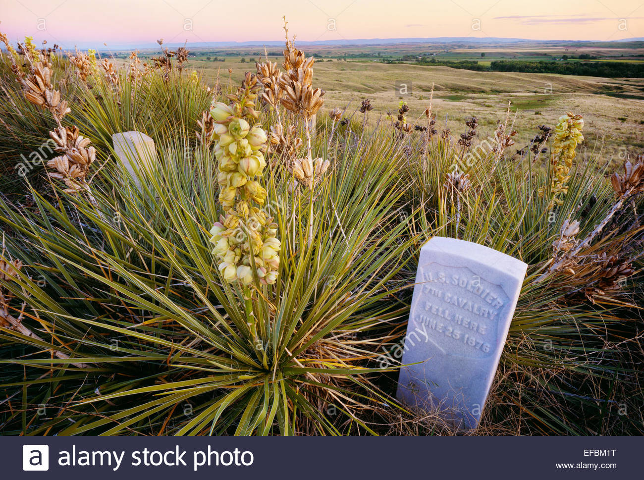 Memorial marker for unnamed U.S. soldier, Little Bighorn Battlefield National Monument, Montana. - Stock Image
