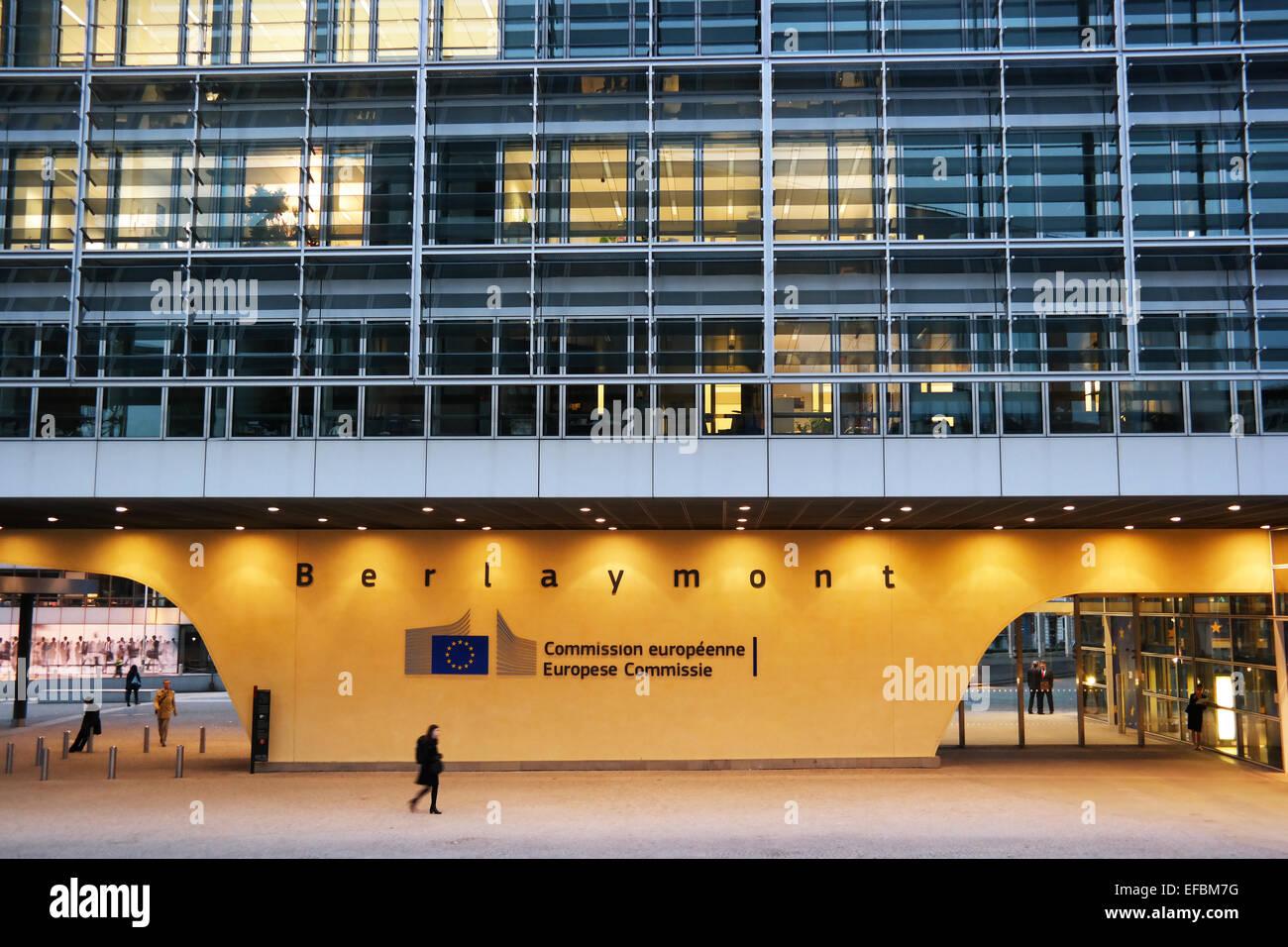 BRUSSELS, BELGIUM - OCTOBER 2014:  Berlaymont the European commission building during dusk - Stock Image