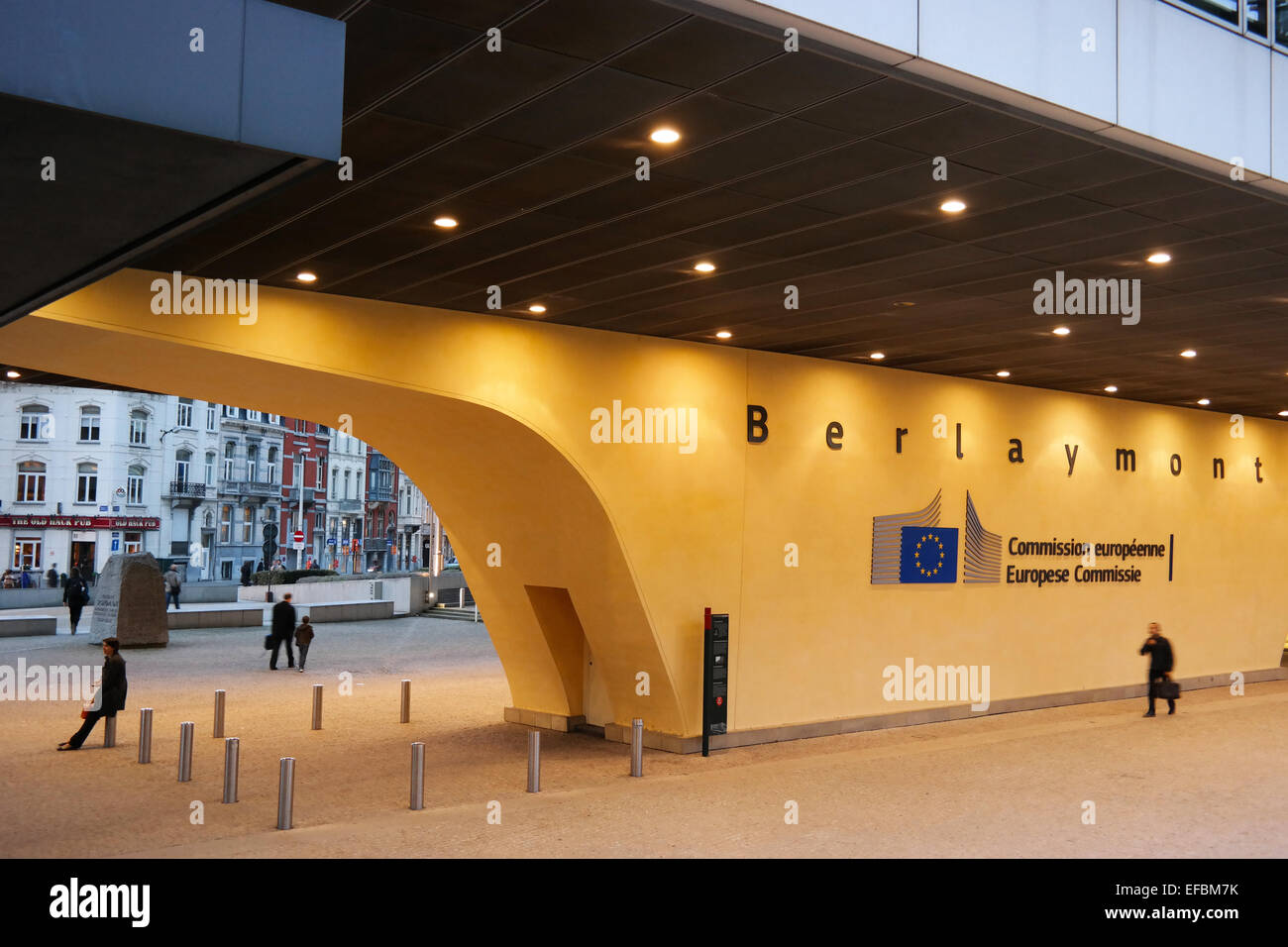 BRUSSELS, BELGIUM - OCTOBER 2014:  Gate under Berlaymont the European commission building during dusk - Stock Image