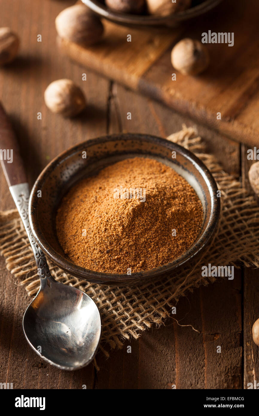 Raw Organic Dry Nutmeg to Use as a Spice - Stock Image