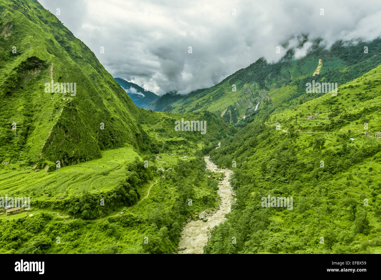 Trekking in Nepal. - Stock Image