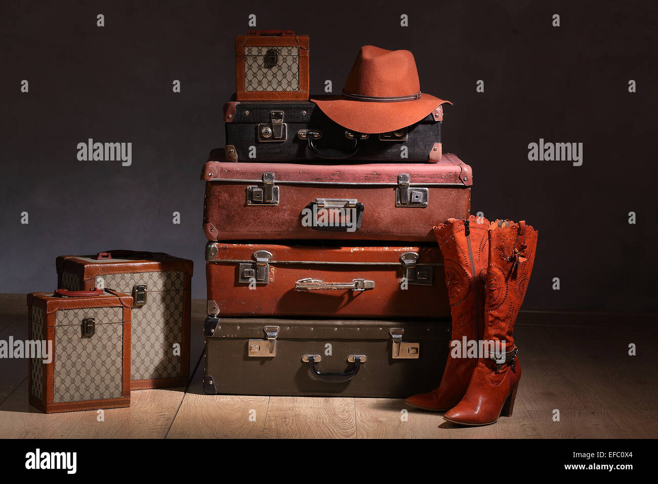 props, stuff, suitcase, bag, hat, rarity, antique, pipe - Stock Image