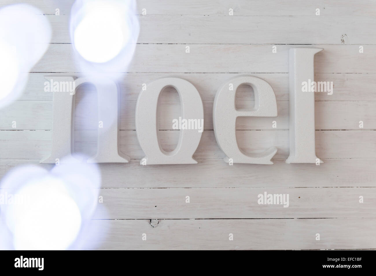 Noel Christmas Lettering with festive lights - Stock Image