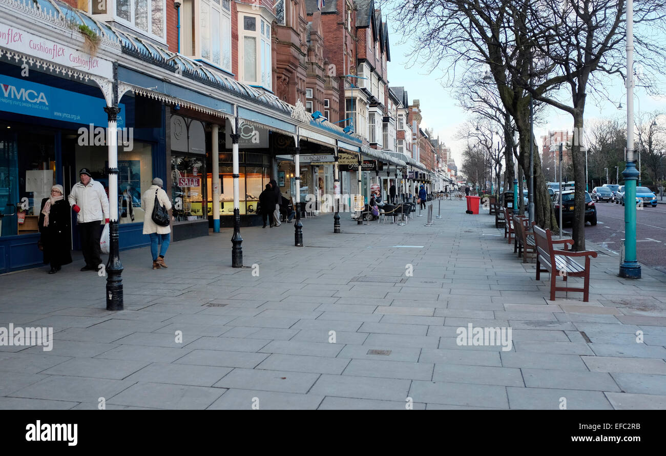 Southport. England 29.1.15.  Lord Street Southport on a cold winters afternoon. Stock Photo