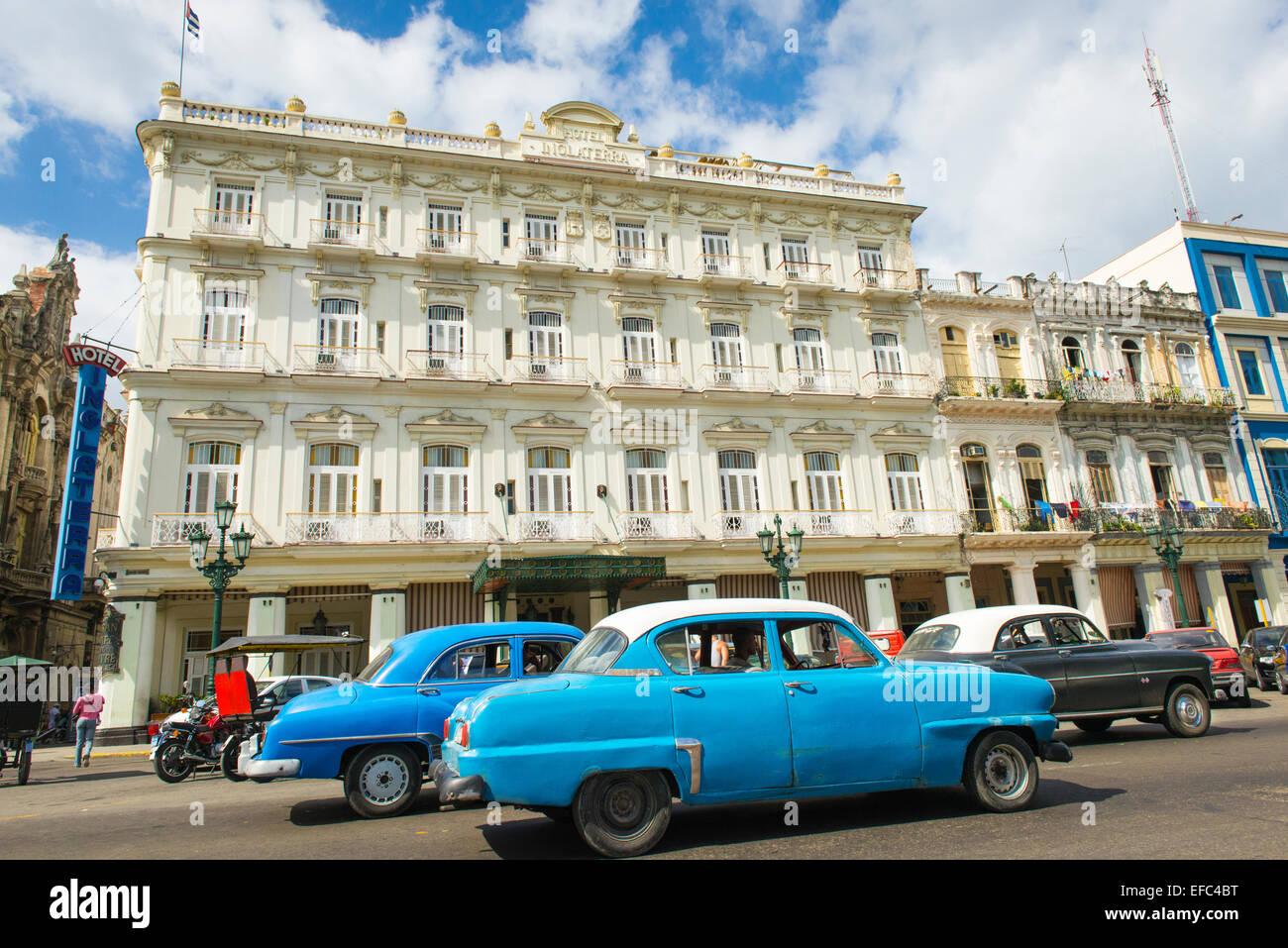 Cuba Old Havana La Habana Vieja Central Park Paseo de Marti ( Prado ) Hotel Inglaterra street scene classic American - Stock Image