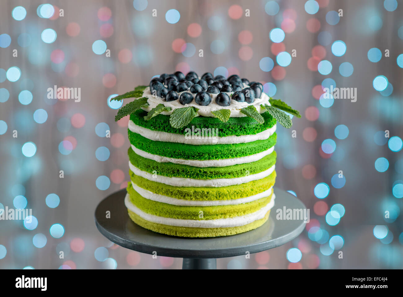 Nice Sponge Happy Birthday Cake With Mascarpone And Grapes On The